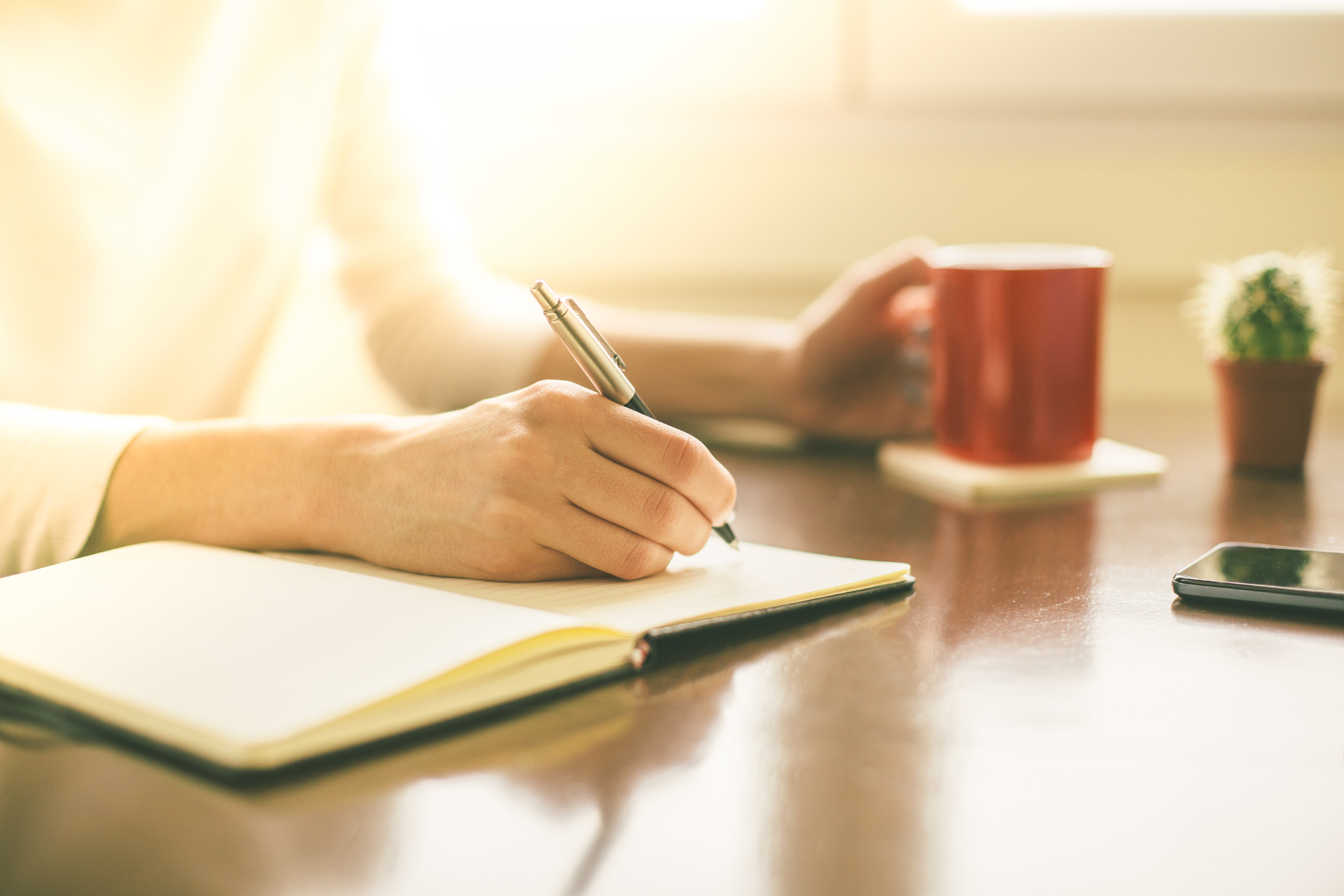 Female hands writing on notebook