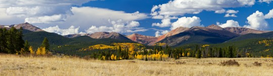 Panoramic landscape of the Colorado Rocky Mountains in Fall