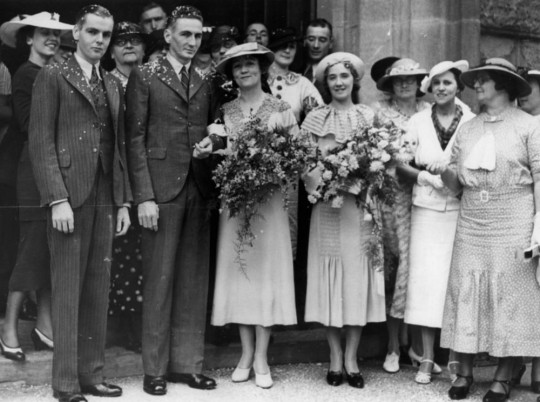 StateLibQld_1_157448_Josie_O'Flaherty_and_Bob_(Marshal^_or_Marten^)_on_their_wedding_day,_ca._1930s